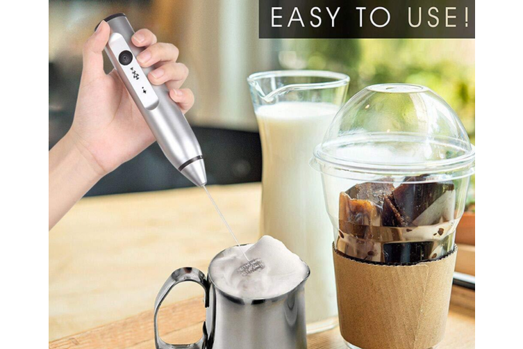 【USB 3 SPEEDS MILK FROTHER】Rechargeable Electric Milk Frother, Handheld Foam Maker For Coffee, Latte, Cappuccino, Hot Chocolate, Drink Mixer-WHITE