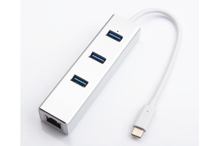 USB C Hub Ethernet, 4-in-1 USB C Adapter RJ45 Ethernet Port, 3 USB 3.0 Ports, for Windows 8/ 7/ Vista(32/64bit), XP ,2003/2000 ,MAC OS X,Linux-Silver