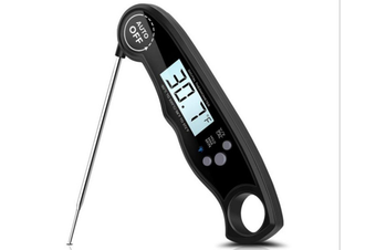 Instant Read Meat Thermometer - Best Waterproof Ultra Fast Thermometer with Backlight.Digital Food Thermometer for Kitchen, Outdoor Cooking, BBQ-BLACK