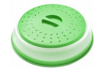 "Vented Collapsible Microwave Splatter Proof Food Plate Cover With Easy Grip Handle Dishwasher-Safe, BPA-Free Silicone & Plastic, 10.5"" Round-GREEN"