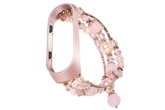 Strap Bracelet for Xiaomi Mi Band 3/4 Replacement Band, Bead String Wrist Strap Wristband Smart Watch Band Watchband Accessories Adjustable-PINK