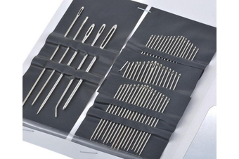 55 Pieces Stainless Steel Hand Sewing Needles Set with Different Sizes, Plated Steel-55pcs