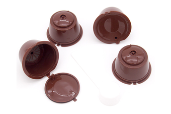 4 Refillable Coffee Capsule Reusable Coffee Filter Compatiable with Dolce Gusto Brewer Coffee Spoon,Brush (coffee)