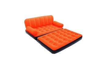 Bestway Inflatable Multi-Max Double Air Bed Mattress Couch Sofa with AC Pump Orange