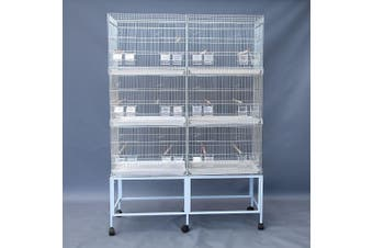 6xBreeding Bird Cages on Stand for Canary Parakeet Budgie Cockatiel