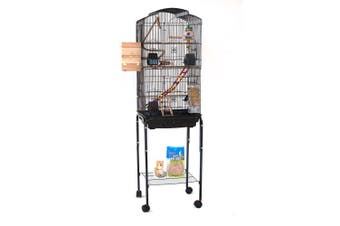 Dome Top High Bird Cage on Stand with Play Toys Black