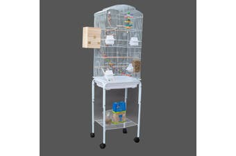 Dome Top High Bird Cage on Stand with Play Toys White