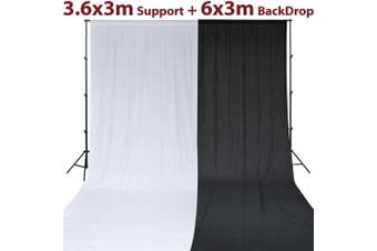 Photo Photography Studio Set: B&W Muslin Background Backdrop & Support Stand