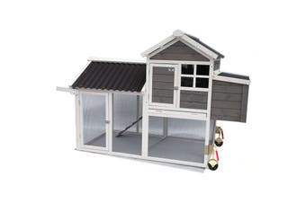 Chicken Ranch Chicken Coop with Run on Wheel PVC Roof