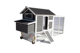 Chicken Coop with Run on Wheel PVC Roof