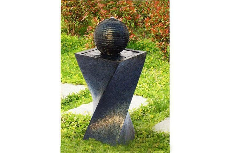 Solar Panel Power Water Pump Fountain Feature with LED Twisted Design
