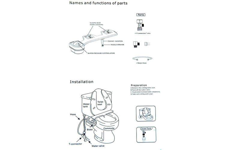 Hydraulic Toilet Seat Bidet Cold Water Nozzie Selfclean