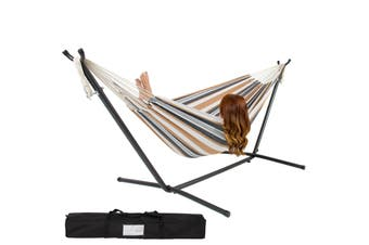 Double Hammock With Steel Stand and Portable Carrying Bag