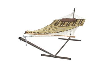 Cotton Rope Padded Hammock & 12 Feet Steel Stand Combo and Pillow