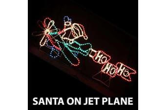 LED Animated Santa on Jet Plane Rope Light Christmas Light