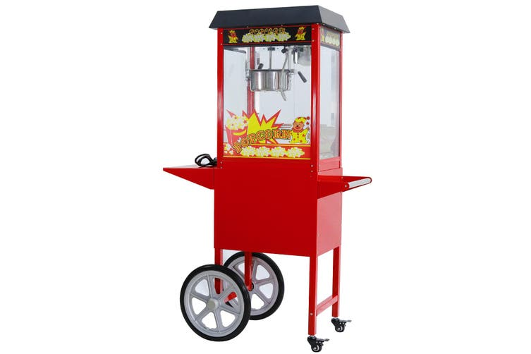 8Oz Popcorn Machine Maker on the wheeled Cart Deck Warmer