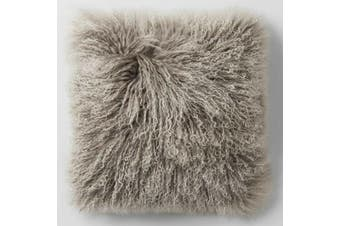 Mongolian Curly Blush Lambskin Sheepskin Cushion 40cm x 40cm Beige