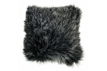 Mongolian Curly Blush Lambskin Sheepskin Cushion 40cm x 40cm Black