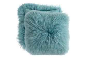 Mongolian Curly Blush Lambskin Sheepskin Cushion 40cm x 40cm Blue