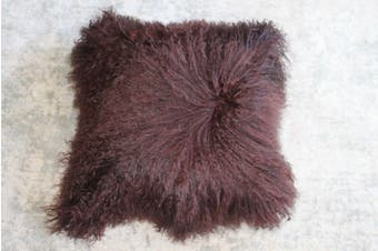 Mongolian Curly Blush Lambskin Sheepskin Cushion 40cm x 40cm Brown
