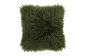 Mongolian Curly Blush Lambskin Sheepskin Cushion 40cm x 40cm Green