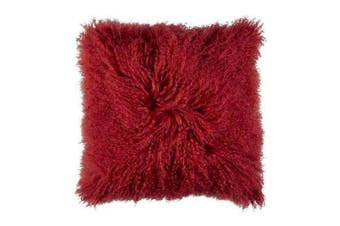 Mongolian Curly Blush Lambskin Sheepskin Cushion 40cm x 40cm Red