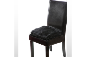 100% Genuine Sheepskin Lambskin Chair Pad Seat Pad Cover 40cm Black Long Wool