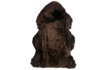 100% Genuine Sheepskin Lambskin Rug Wool Brown 90CM Fluffy