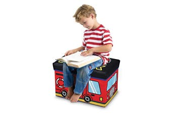 IS Gift Sit 'n' Store Fire Truck Kids Toy Storage Stool