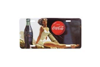 Coca-Cola Pin Up in White Metal Plaque 30x15cm