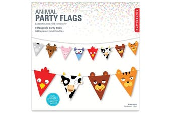 Kikkerland Animal Face Party Flags 1.8m Decoration