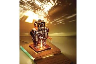 POStalk Metal Robot Greeting Card with LED Light