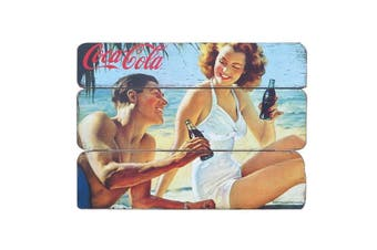 Coca-Cola Coke Beachside Couple Retro Wood Pin Up Wall Plaque