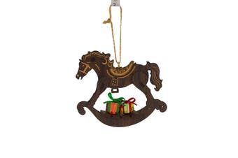 Christmas Wooden Rocking Horse Hanging Ornament 12cm