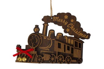 Christmas Wooden Steam Train Hanging Ornament 13.5cm