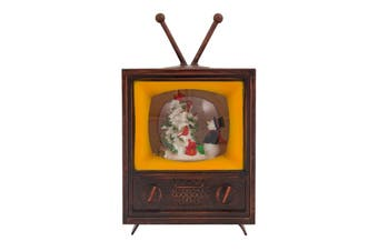 Bubble Glitter Christmas Musical Retro TV Snowman with LED Lights