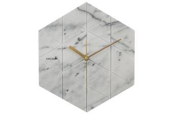 Karlsson White Grey Marble Hexagon Silent Movement Wall Clock 28.5cm