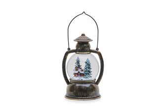 Christmas Bubble Glitter Winter House Round Lantern 20cm