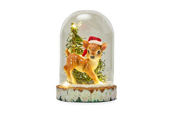 Christmas Glass Dome LED Light with Deer & Tree 16cm