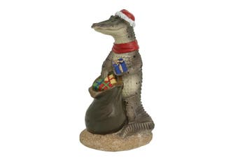 Australian Crocodile with Christmas Sack Figure 13cm
