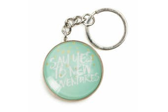 Inspiration Quotes Glass Domed Keyring Pastel Dreams Collection [Quote: Adventures]