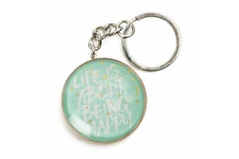 Inspiration Quotes Glass Domed Keyring Pastel Dreams Collection [Quote: Happy]