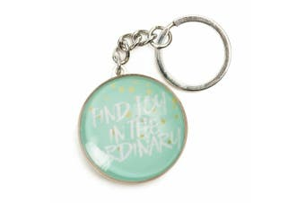 Inspiration Quotes Glass Domed Keyring Pastel Dreams Collection [Quote: Find Joy]