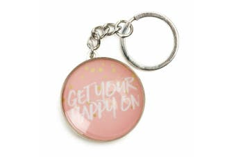 Inspiration Quotes Glass Domed Keyring Pastel Dreams Collection [Quote: Happy On]