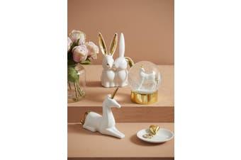Emporium White and Gold Ceramic Rabbit Bunny Friends Sculptures