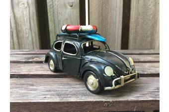 Vintage Diecast Beetle with Surfboard and Lifebuoy [Colour: Black]