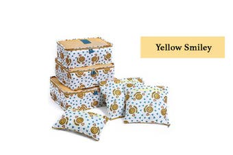 Pack-in-Style Luggage Organiser Packing Cubes 6 pcs Set [Pattern: Yellow Smiley]