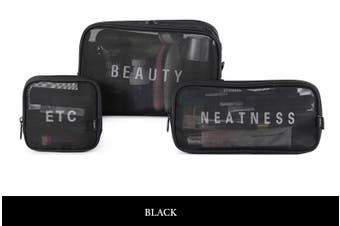 Pack-in-Style Tolietries and Electronics Waterproof Travel Organisers (3pc) Set [Colour: Black]