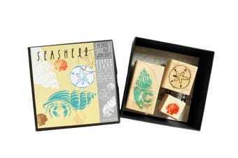 Yellow Owl Workshop Seashell Rubber Stamp Set of 3