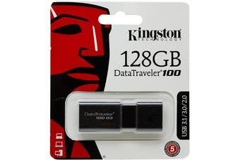 Kingston DataTraveler 100 G3 - 128GB USB 3.0 Flash Drive (DT100G3/128GB)